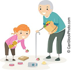 Stickman Kid Help Senior Pick Up Illustration