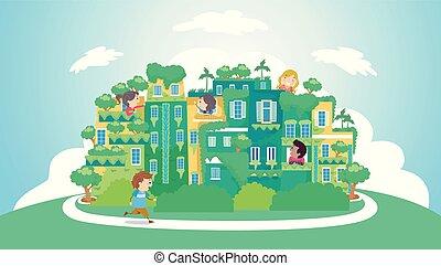 stickman, kids, зеленый, иллюстрация, город
