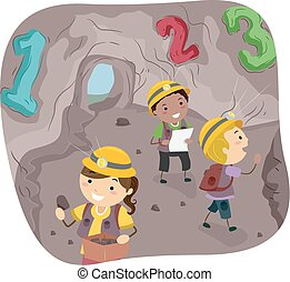 Stickman Kids 123 Cave Illustration