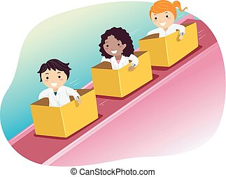 Stickman Kids Activity Inclined Plane Illustration