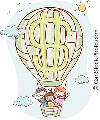 Stickman Kids Air Balloon Dollar Illustration