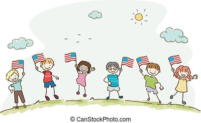Stickman Kids American Flag Illustration
