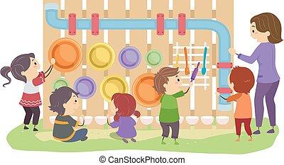 Stickman Kids Arrange Musical Sensory Garden