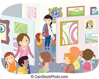 Stickman Kids Art Exhibit - Illustration of Kids Checking...