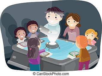 Stickman Illustration of Kids Listening to a Teacher Projected by a Hologram