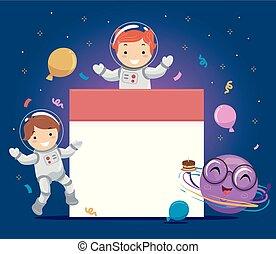 Stickman Kids Astronauts Birthday Calendar