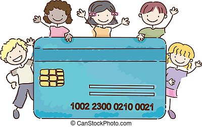 Stickman Kids Atm Credit Card Illustration