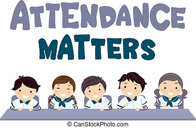 Stickman Kids Attendance Matters Illustration - Illustration...
