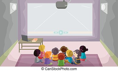 Stickman Kids Audio Visual Room Illustration
