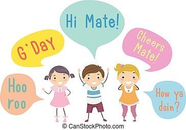 Stickman Kids Australian Slang Speech Bubbles