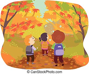 Stickman Kids Autumn Forest Path Illustration