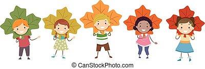 Stickman Kids Autumn Leaves