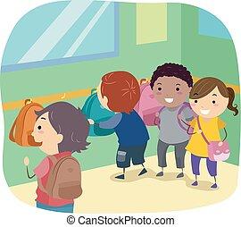 Stickman Kids Bag Corner Classroom Illustration
