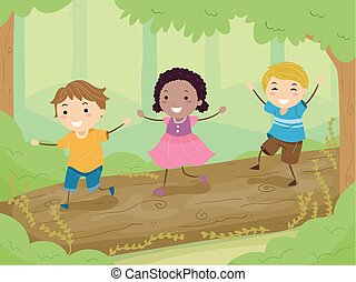 Stickman Kids Balance Walk Wood Logs Illustration -...