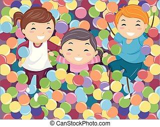 Stickman Kids Ball Pit Illustration