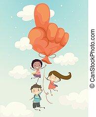 Stickman Kids Balloon Go Up Illustration