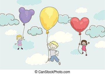 Stickman Kids Balloon Ride Illustration