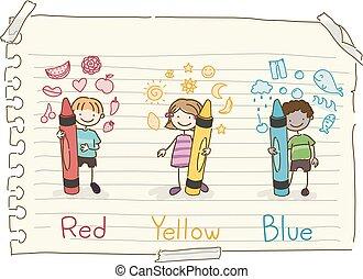 Stickman Kids Basic Colors Doodles Illustration
