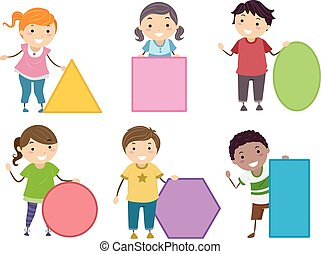 Stickman Kids Basic Shapes Illustration