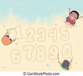 Stickman Kids Beach Sand Numbers Illustration