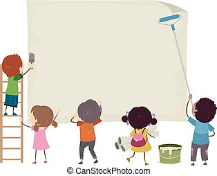 Stickman Kids Blank Paper Post Illustration