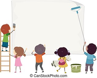 Stickman Kids Blank Paper Posting Illustration