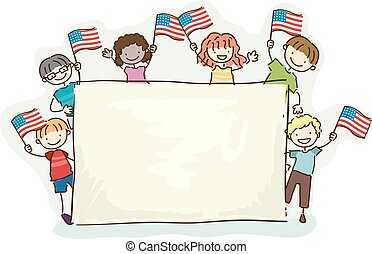 Stickman Kids Board American Flag Illustration