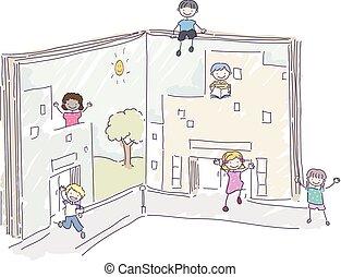 Stickman Kids Book Buildings Illustration