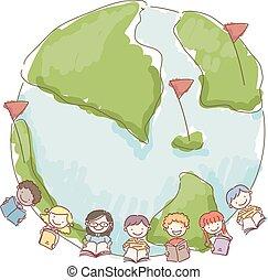 Stickman Kids Book Earth Illustration
