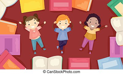 Illustration of Stickman Kids Lying Down the Floor Among Books