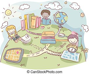 Stickman Kids Books Geography Tools Illustration