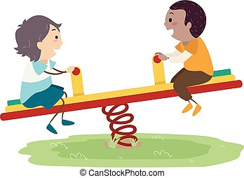 Stickman Kids Boy Seesaw Playground Illustration