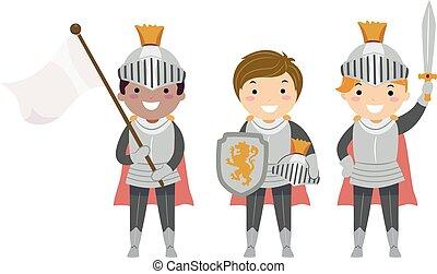 Stickman Kids Boys Knights Illustration