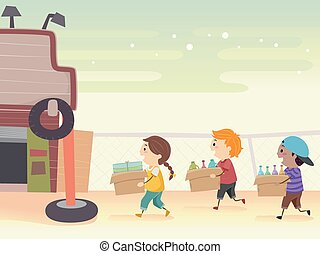 Stickman Kids Bring Junk Shop Illustration
