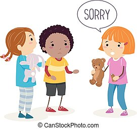 Stickman Kids Broken Toy Sorry Illustration