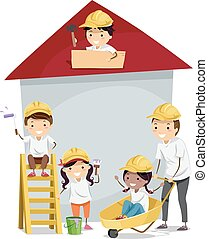 Stickman Kids Build House