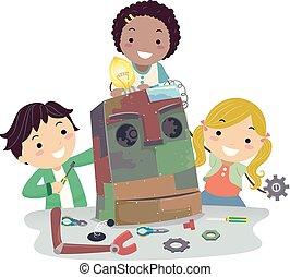 Stickman Kids Build Junk Robot Illustration