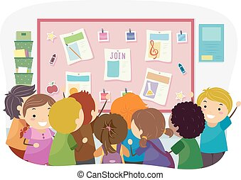 Stickman Kids Bulletin Join Club Illustration