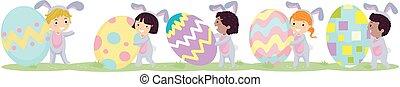 Stickman Kids Bunny Easter Eggs Walk Border