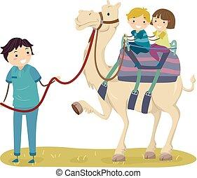 Stickman Kids Camel Ride Guide Illustration