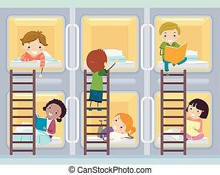 Stickman Kids Capsule Hotel Room Illustration