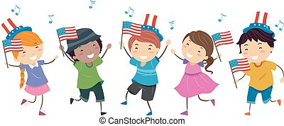 Illustration of Stickman Kids Each Holding a US Flag and Wearing Uncle Sam Hat