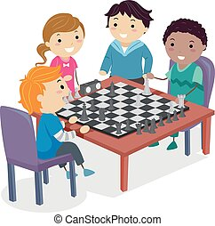 Stickman Kids Chess Club Practice Illustration