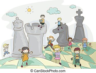 Stickman Kids Chess Field Illustration