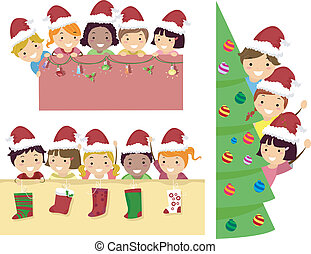 Stickman Kids Christmas Banner - Border Illustration of...