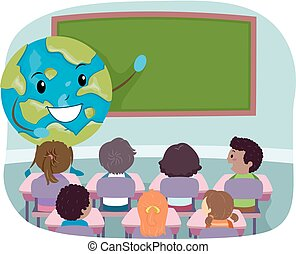 Stickman Kids Class Earth Mascot Illustration