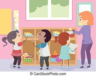Stickman Kids Classroom Organize Illustration