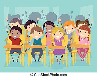 Illustration of Stickman Kids Raising Their Hands Participating in Class