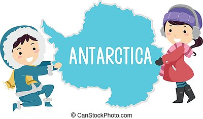 Illustration of Stickman Kids in Winter Clothes Presenting the Continent of Antarctica