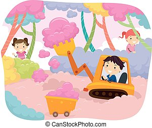 Stickman Kids Cotton Candy Harvest Bulldozer